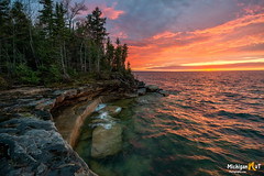 """""""A Fiery lake Superior Sunset"""" (Michigan Nut) Tags: lakesuperior sunset upperpeninsula nature coastline glow water usa photography scenic sky clouds greatlakes"""