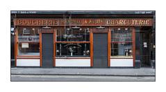 Randall & Aubin, West London, England. (Joseph O'Malley64) Tags: randallaubin boucherie charcuterie shop shopfront classicshopfront soho westlondon london england uk britain british greatbritain sign signage awnings burglaralarm cctv cctvcamera woodwork tiling glazedtiles stucco stuccowork mouldings shutters rollershutters entrances exits stopcock accesscover granitekerbing tarmac doubleyellowlines noparkingatanytime parkingrestrictions steelgate urban urbanlandscape fujix x100t accuracyprecision incline gradient frontage