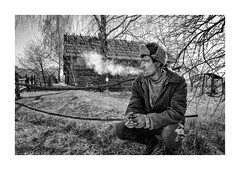 (Jan Dobrovsky) Tags: portrait smoke people reallife outdoor countryside disappearingworld contrast leicaq ukraine middleofnowhere grain cigarette monochrome volyn leica village countrylife document