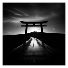 Road to Zen (picturedevon.co.uk) Tags: shinto gate dartmoor devon abstract fineart le sunrise blackandwhite bw mono oriental asia shrine road black grey sky clouds creative photoshop zen wwwpicturedevoncouk photography silhouette