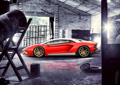 Lamborghini Aventador S F1 Edition (Nike_747) Tags: naksphotographydsign lamborghini aventador s f1 edition gold star rims supercar hypercar super hyper car sportscar sport class exotic rare luxury color limited formula one lp 7404 v12 v 12 kers ldva coupe roadster hangar house garage wheels trees flare water reflection iron bottle boxes wood bricks red white bull black carbon fiber