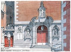 Liège, église Saint-Nicolas (gerard michel) Tags: belgium liège architecture église portail sketch croquis aquarelle watercolour