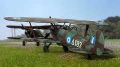 """1:72 Gloster Glaive Mk. I, """"Δ 183"""" of the Hellenic Air Force's 22 Mira Dioxeos, Ioannina (Epirus region), March 1941 (Whif/Kitbashing) (dizzyfugu) Tags: gloster gladiator glaive biplane raf export greece hellenic air force fictional aviation whif whatif model kit modellbau dizzyfugu conversion kitbashing sbc curtiss i153 spats mira dioxeos 22 ioannina epirus germany invasion world war 2 wwii peregrine engine"""