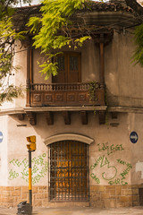 Salta - Balcon Ochava (Pablo Begni) Tags: mostremosnuestraargentina nikon nikond800 argentina salta ventana ciudad arbol madera reja balcon grafiti esquina plantas color luz encuadre