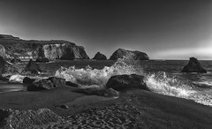 Stack & Surf (msuner48) Tags: d750 acr5 cs4 ocean pacificocean rodeobeachca seastacks water surf rocks cliffs beach monochrome blackwhite topazlabs nikcollection nikon1635mmf4