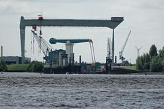 Sietas-Werft Cranz mit der Este-Klappbrücke (hu.roescheisen) Tags: hamburg elbe este mühlenbergerloch sietas werft klappbrücke