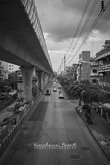 Perspective Way (Naoak_photography) Tags: trees line sky city street travel light daylight car train cityscape way building black white motorcycle cable construction perspective wire electric bangkok thailand