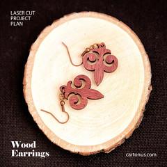 Filigree earrings (cartonus) Tags: earrings lasercut project plan vector model mandarin snowflakes woman jewelry wooden artdeco modern filigree plywood hardwood