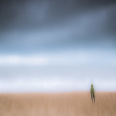 Strangers By The Sea - I (dthackwell) Tags: icm intentionalcameramovement blur seascape sand landscape water ocean sky seaside shore outdoor coast people strangers beach clouds