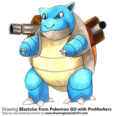 Blastoise from Pokemon GO with ProMarkers [Speed Drawing] (drawingtutorials101.com) Tags: blastoise pokemon go pokémon video games augmented niantic dennis hwang junichi masuda promarkers alcohol markers marker promarker color colors coloring draw drawing drawings how timelapse