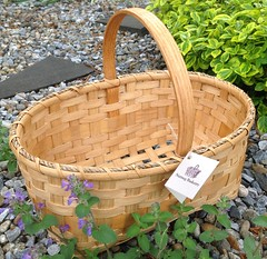 Market with Ash Strip (Nutmegbasketry) Tags: marketbasket shakerbasket shaker oakhandle handwoven basketry basketmaker newenglandmade basket