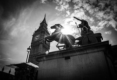 Queen Of London by Simon & His Camera (Simon & His Camera) Tags: statue horses bigben tower london city urban sky cloud sunlight sun starburst architecture building bw blackandwhite contrast iconic lookingup monochrome outdoor parliament simonandhiscamera vignette westminster
