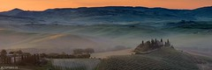 Panorama - Podere Belvedere (Captures.ch) Tags: 2017 black blue brown capture cypresses farm fog gray green haze hills house italy landscape may mist nature olives orange poderebelvedere red sky spring sunrise trees tuscany valdorcia white wine