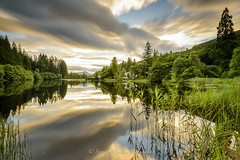 Loch Ard (Francis Mridha) Tags: beautifulscotland calm clouds francismridhaphotography green landscape loch lochard longexposure nikon perthshire reflection scotland sunset travel tree uk visitscatland water westscotland stirling