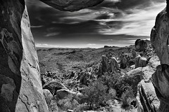 Using the Balance Rock to Frame a View of Big Bend National Park (Black & White)