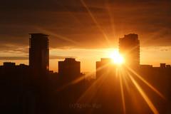 Sunrise Magic (Katrin Ray) Tags: sunrisemagicrays goodmorninggoldencity sun sunrise star rays clouds golden peach orange yellow may skyline skyscraper silhouette downtown toronto ontario canada katrinray dreamscapesoftoronto sooc canon eos rebel t6i 750d