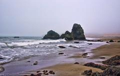 Stacks of Three (msuner48) Tags: d750 acr5 cs4 water ocean seastacks rodeobeachca sand rocks surf fog sky nikcollection topazlabs nikonafs24120mmf4ged