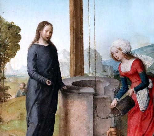 IMG_8508B Juan de Flandres. Flamand actif en Castille entre 1496 et 1519.  Le Christ et la Samaritaine. Christ and the Samaritan woman Louvre.