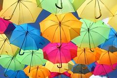 Que de couleurs! / That of colors! (alainragache) Tags: colors couleurs art installation umbrella parapluie artistique artistic brilliant canon600d flashy light lumière multicolore artiste portugal nationalgeographic