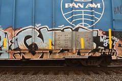 GAW (TheGraffitiHunters) Tags: graffiti graff spray paint street art colorful freight train tracks benching benched boxcar gaw ribbet