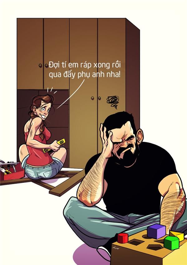 """Nhưng mà vợ không chỉ có """"bóc lột"""" chồng không thôi đâu, nhiều lúc vợ cũng giúp chồng được nhiều việc lắm đấy nhé."""