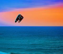 "Parasailing at Panama City Beach, Florida USA (crimsontideguy-from ""Sweet Home Alabama"" USA) Tags: panamacityflorida parasailing gulfofmexico sunset water nikon photoshop blue orange"