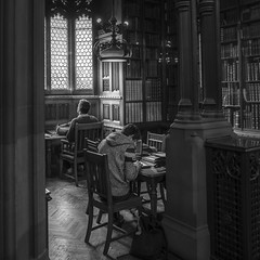 A Dreamer and a Doer (karolklaczynski) Tags: fuji fujifilm xt1 manchester uk bw blackandwhite mono monochromatic monochrome library john rylands johnrylands reading studying books book dreamer doer students learning victorian history room university deansgate interior