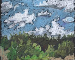 Clouds and Juniper, afternoon (Marcia Milner-Brage) Tags: landscape clouds santafe newmexico neocoloriiwatersolublewaxpastels blackpaper marciamilnerbrage