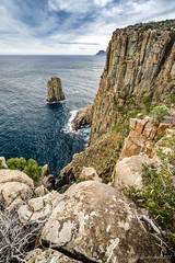 The Monument (NettyA) Tags: 2017 3capestrack australia sonya7r tasmannationalpark tasmanpeninsula tasmania tassie threecapestrack bushwalk bushwalking day4 hike hiking capehauytrack cliffs track trail clouds sea seascape dolerite rocks themonument