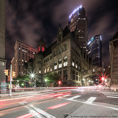 Forbes and Ross (20170526-DSC02064-Edit) (Michael.Lee.Pics.NYC) Tags: pittsburgh alleghenycountycourthouse bnym bnymelloncenter forbesavenue rossstreet upmc bridgeofsighs venice night longexposure architecture cityscape square lighttrails traffictrails hhrichardson intersection streetscene sony a7rm2 voigtlanderheliar10mmf56 ussteelbuilding