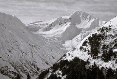 Just Around The Corner (fotostevia) Tags: alaska bw blackwhite chugachrange portagelake portagelakeak snow ice monochrome mountains byronpeak byronpeakak