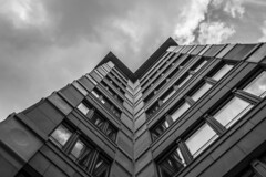 - Broken V Look UP X. - (Manuel Kaboth) Tags: lookup vlookup architecture urban wideangle photography urbanphotography urbanexplore unique canon 1740mm cloudy day glass blackandwithe blackwhite buildings