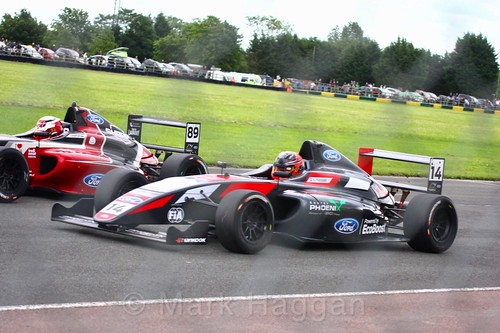 Jamie Sharp and Karl Massaad in British F4 during the BTCC weekend at Croft, June 2017