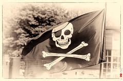 Jolly Roger (BigRedTroll) Tags: bw blackandwhite england flag jollyroger marina monochrome northampton northamptonshire northants pirate skull skullandcrossbones threecounties