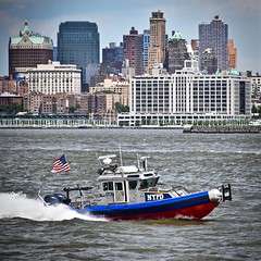 NYPD on the Water (tim.perdue) Tags: nyc new york city big apple metropolis hudson river nypd police department boat watercraft skyline water manhattan harbor bay brooklyn