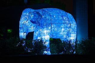 A batik elephant roaming the entrance area