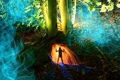Mr Hopkins' Secret Woodland Home. (martbarras) Tags: martbarras lightpainting lightpainter lpwa lpuk lightart double exposure lens capped sooc jpeg mrhopkinssecretwoodlandhome nikon d7100 tokina 1116mm sigma 1835mm trees woodland steelwool wirewool torch flash