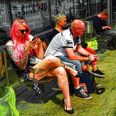 in the heat of the day (j.p.yef) Tags: peterfey jpyef yef people women men sitting digitalart popart summer seasons city germany hamburg redhair tattoos streetlife photomanipulation