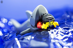 Shark Attack (jezbags) Tags: lego legos toys toy minifigure minifigures macro macrophotography macrodreams macrolego canon60d canon 60d 100mm closeup upclose shark attack sea scared death