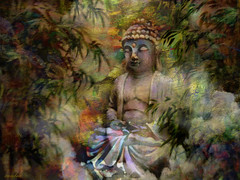 :: peace and bliss :: (xandram) Tags: buddha leaves clouds sun peace meditation photoshop jim birthday