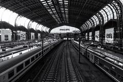 Hamburg (michael_hamburg69) Tags: hamburg germany deutschland hauptbahnhof hbf train station main philips gleise monochrome schwarzweiss monochrom tracks zug züge schokolade rittersport