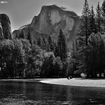 On the Banks of the Merced River with a Backdrop of Half Dome (Black & White) thumbnail