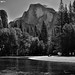 On the Banks of the Merced River with a Backdrop of Half Dome (Black & White)