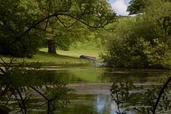 Blue Boat (Margaret Preuss-Higham) Tags: green serene boat blue red trees reflection leaves dorset bridehead canon700d
