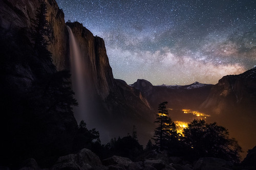 "Upper Yosemite Falls & Milky Way • <a style=""font-size:0.8em;"" href=""http://www.flickr.com/photos/82671297@N04/34044164453/"" target=""_blank"">View on Flickr</a>"