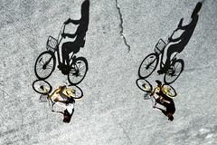 Shadow talk~ Shanghai (~mimo~) Tags: street photography urban city canon flip lookdown birdseye shadow bicycle china shanghai