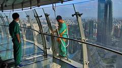 Supervising window cleaning from inside (gerard eder) Tags: world travel reise viajes asia eastasia china shanghai orientalpearltvtower tvtower windows skyline skycraper sky people peopleoftheworld