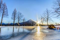FUJI REFLECTION ... freeze day waiting for sunrise with -15 c temperature for got a sun flare (Sutiwat Vej) Tags: fuji mountain beautiful flare sunrise japan fujifilm cold freeze snow snowy reflection landscape
