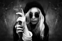 Hexaar (Arr Hart) Tags: arrhart arr hart portrait monochrome grain bw sw dark surreal quiet glasses hair girl nature mood