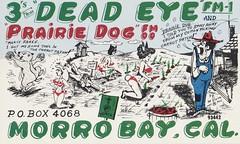 Dead Eye & Prairie Dog - Morro Bay, California (73sand88s by Cardboard America) Tags: qsl cb cbradio vintage qslcard theviking california rabbit